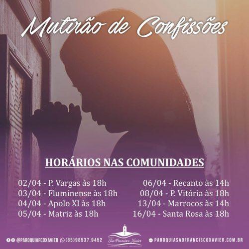 CONFISSÕES NA PARÓQUIA DO CONJUNTO ESPERANÇA